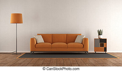 Minimalist white and orange living room