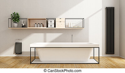 Minimalist white bathroom