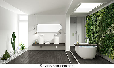 Minimalist white bathroom with vertical and succulent garden, wooden floor and pebbles, hotel, spa, modern interior design