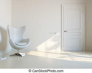 Minimalist White Interior Room With Luxury Armchair 2d...
