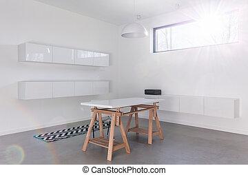 Minimalist white modern room