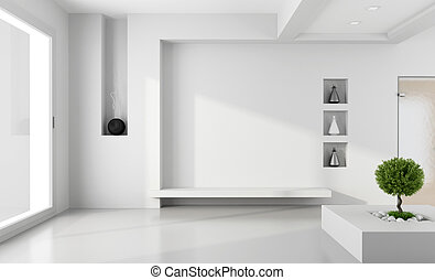 Minimalist white room with niche without furniture -...