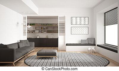 Minimalist, zimmer, lebensunterhalt, groß, modern, sofa ...