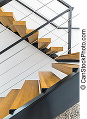 Minimalist wooden staircase - Minimalist staircase with...