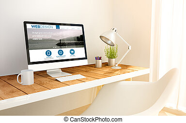 minimalist workplace and computer with web design
