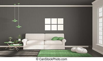 Minimalist, Zimmer, Einfache , Weißes, Graue , Und, Grün, Lebensunterhalt,