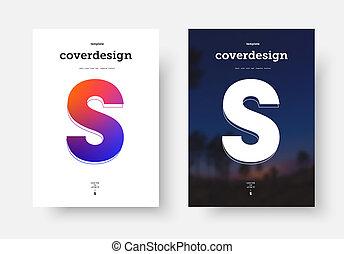"""minimalista, afisz, photo., osłona, wektor, projektować, litera, czarnoskóry, biały, """"s"""""""