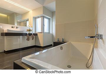 minimalista, bañera, cuarto de baño