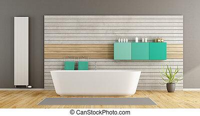 minimalista, bagno, vasca bagno