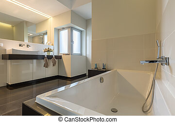 minimalista, banheiro, banheira