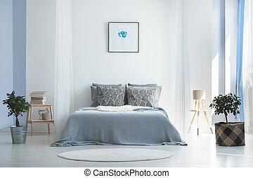 minimalista, boemo, disegno, camera letto