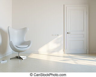 minimalista, branca, interior, sala