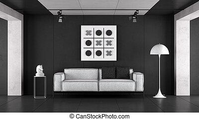 minimalista, branca, pretas, sala, vivendo