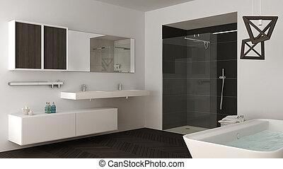 Minimalista, cuarto de baño, ducha, gris, doble, bañera, brillante ...
