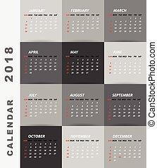 minimalista, calendario, disegno, 2018