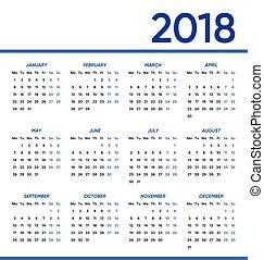 minimalista, calendario, vettore, 2018