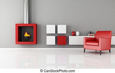 minimalista, chimenea, habitación, vida