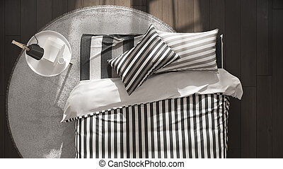 minimalista, close-up, topo, cama, escandinavo, quarto, vista, tabela, lado