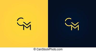 minimalista, cm, inicial, resumen, carta, logo.