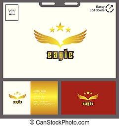 minimalista, concetto, aquila, dorato, vettore, logotipo
