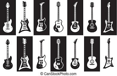 minimalista, differente, set, elettrico, acustico, isolato, vettore, nero, guitars., chitarre, roccia, types., bianco