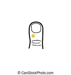 minimalista, estilo, verruga, mano, dedo, golpeado, médico, icono