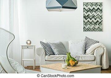 minimalista, estudio, habitación