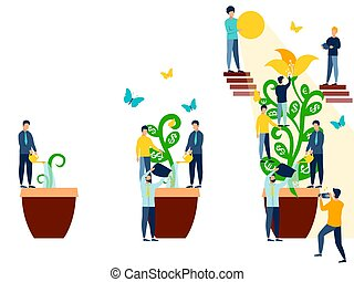 minimalista, flor, como, empresa / negocio, plano, regado, employees., vector, abstracción, style., caricatura