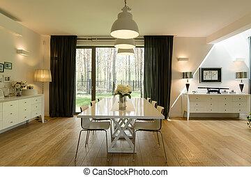 minimalista, habitación, cenar