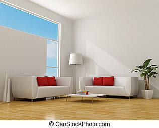 minimalista, habitación, vida