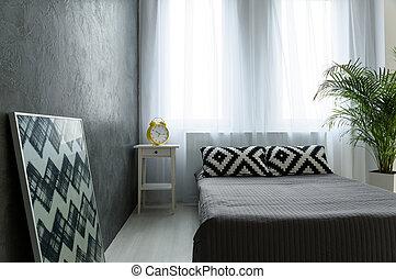 minimalista, idea, sypialnia