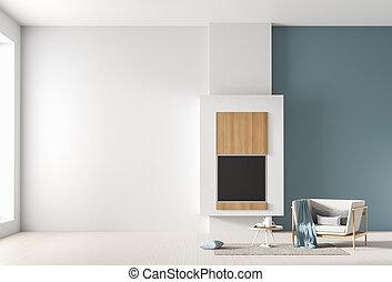 minimalista, illustration., parete, su, scandinavo, beffare, interno, design., fireplace., vuoto, 3d