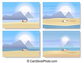 minimalista, komplet, krajobrazy, łódka, odizolowany, ilustracja, wektor, słońce, morze