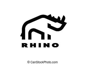 minimalista, lineare, vettore, rinoceronte, logo., style., illustration.