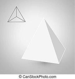 minimalista, moda, appartamento, figure., magro, design.platonic, illustrazione, illustrazioni, vettore, hipster, solids., disegno, linea, tetrahedron, geometrico, art.