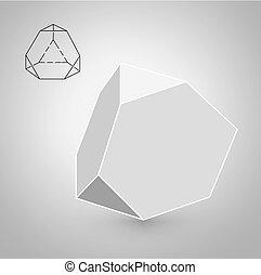 minimalista, moda, arte, bodies., solido, figure., illustrazione, appartamento, linea., vettore, hipster, illustrazione, trancahed, disegno, geometrico, tetrahedron, multa, film, design.