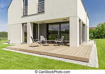 minimalista, modern, terasz, épület
