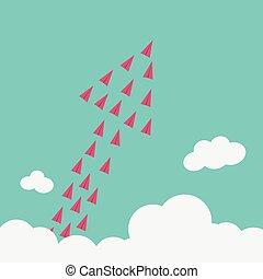 minimalista, mudança, stile, solução, voando, tendência, criativo, high.vision, idéia, crescimento, maneira, inovação, coragem, novo, avião, original, concept., vermelho