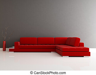 minimalista, nero, livin, rosso, stanza