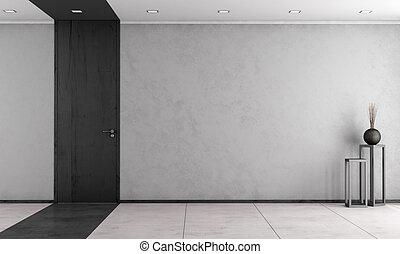 minimalista, porta, stanza, chiuso, vivente