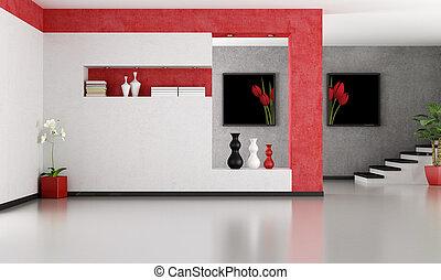 minimalista, sala, vazio, vivendo