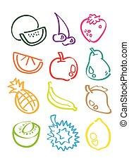 minimalista, schizzo, vettore, frutte