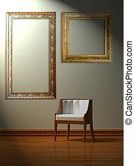 minimalista, sedia, solo, interno