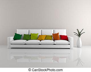 minimalista, sofá, branca