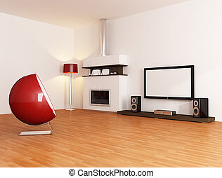 minimalista, stanza bianca, vivente