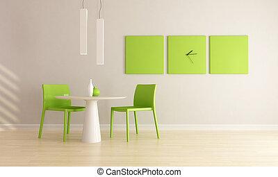 minimalista, stanza, cenando