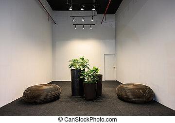 minimalista, stanza, secolo, moderno, mezzo, interno, vivente