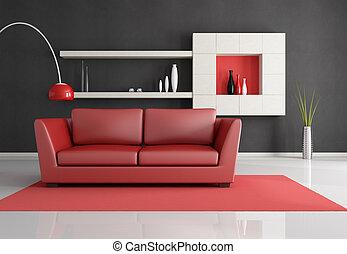 minimalista, stanza, vivente