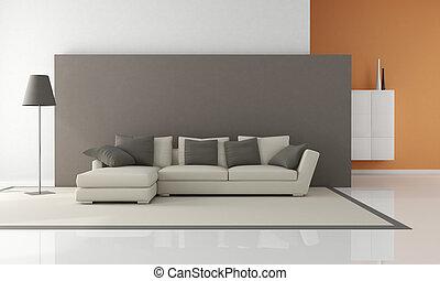 minimalista, szoba, eleven