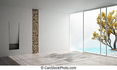 minimalista, szoba, pocsolya, nagy, körképszerű, ablak, tervezés, belső, fehér, kandalló, kert, üres, úszás
